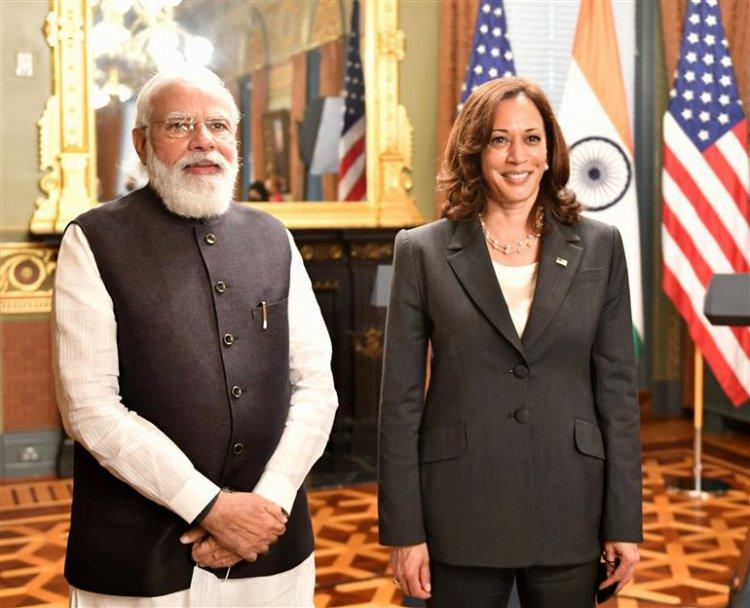 प्रधानमंत्री नरेन्द्र मोदी और संयुक्त राज्य अमेरिका की उपराष्ट्रपति कमला हैरिस के बीच बैठक